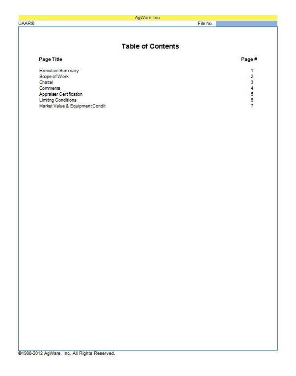 CF-Chattel Template TOC